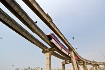 The Mumbai Monorail plys between Chembur to Wadala, Mumbai, 6 March, 2014.