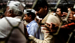 Aam Aadmi Party leader Arvind Kejriwal wades through the crowd at Churchgate Station , Mumbai,12 March, 201